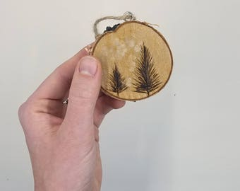 Pair of Pine Trees Wooden Ornament Wood Slice Ornament Holiday Decor Rustic Wooden Ornament Wood Burnt Ornament Birch Slice Ornament
