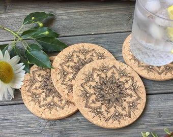 Henna Flower Design Cork Coaster Set of 4