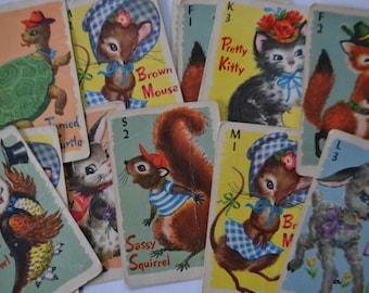 Whitman Vintage Kids Matching Memory Cute Animal Card Game Lot of 24