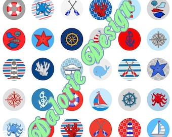 25 mm, nautical print images Digital - nautical - 25 mm round cabochons