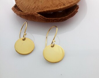 Small Gold Earrings, Simple Gold Disc Earrings, Gold Disc Earrings, Gift for Her, Dainty Gold Earrings, 14k Gold Fill Earrings, Elegant Disc