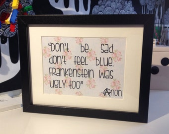 """Framed """"Sarcasm Sign"""" by AsBeAu """"Frankenstein"""""""