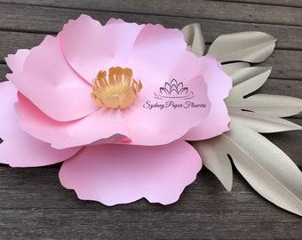 2 peony flowers templates video tutorialspaper flower small peony paper flower video tutorial and centre templatepaper flower patternpdf svg mightylinksfo