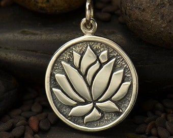 Lotus charm. Sterling silver etched flower jewelry charm or pendant. Make earrings, necklace, or add to charm bracelet.