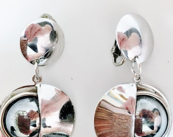 Vintage Modernist Chrome 1960's Space Age Dangle Earrings Atomic Flying Saucer Modern Art Deco Minimalist Mod Mid Century Runway Statement