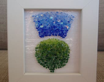Blue Fused Glass 3-D effect Scottish Thistle
