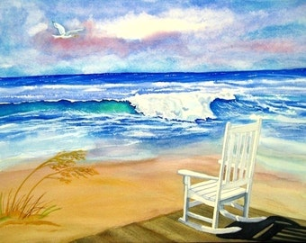 Beach art watercolor seascape, 8x10 print, rocking chair by the ocean, CHOOSE giclee matte or glossy print