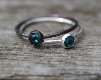 sterling silver teal swarovski hammered stacking ring handcrafted any size