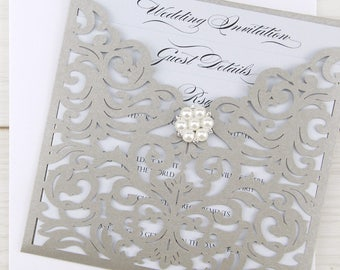 SAMPLE * Ruby Laser Cut Wedding Invitation with Pearl Cluster - Grey
