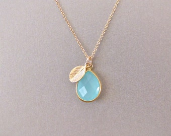 Aqua Chalcedony Drop Necklace with Leaf Accent