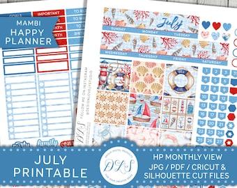 July Happy Planner Stickers, Happy Planner July Kit, July Monthly Planner Stickers, July Monthly View Kit, July Stickers Kit, HPMV128
