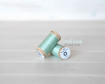 Organic Cotton Thread GOTS - 300 Yards Wooden Spool  - Thread Color Sea Foam - No. 4820 - Eco Friendly Thread - 100% Organic Cotton Thread