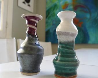 Pair of Mid Century Modern, Weedpots, Bud Vases, Wonky style, MCM decor, Art pottery