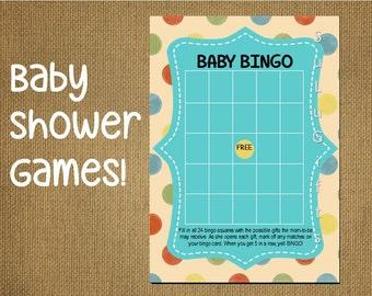 Bingo Baby Shower Game -  Instant Download Printable PDF File ~ Happy Dots Design - Baby Bingo Game