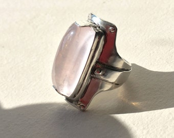 Chunky Rose Quartz in Sterling silver / Size US 8.25 / One of a Kind, Made in Australia / Ready to ship