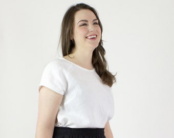 Eloise Linen tshirt, White linen tee,  capsule wardrobe top, Sustainable fashion linen top
