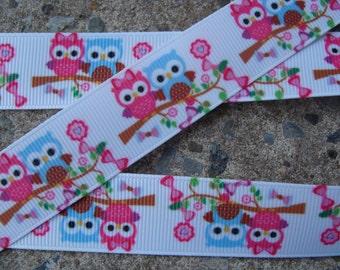 """3 yards Owl Ribbon printed ribbon Pink and Blue Owl Ribbon Printed Grosgrain Ribbon 7/8"""" cartoon print ribbon kids ribbon"""