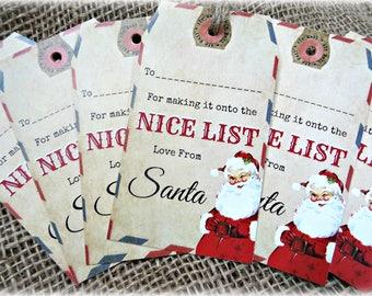 6 Santa's Christmas 'Nice List' Gift Tags & String