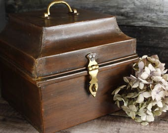 "English Antique Metal Wig Box...9"" x 9"" x 8""....Nordic living....shabby chic"
