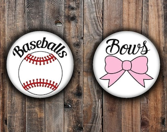Bows or Baseballs gender reveal pins, pink bow and white and red baseball