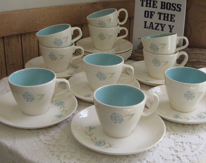 Blue Boutonniere Cup and Saucer Taylor, Smith & Taylor Ever Yours Series Twelve (12) Sets Available Priced Individually Vintage Dinnerware