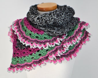 Crochet lace shawl, black with colorful ruffled trim, P445