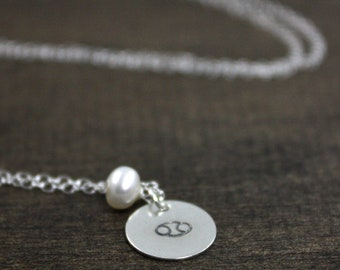 June Cancer - Zodiac Birthstone Necklace - Sterling Silver - Pearl - Gift For Her - Birthday Gift - June Birthday - Gift For Mom