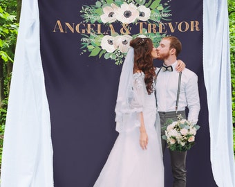 Navy Blue Wedding Photo Booth Backdrop, Rose Gold Wedding, Bridal Shower Backdrop, Bridal Shower Banner, Floral Rustic Wedding /W-A74-TP AA3