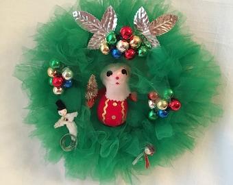 Handmade Vintage Inspired Green Tulle Kitsch Wreath