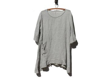 Vintage Coventry Gray Linen Oversized Top