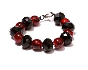 Red & Black crystal beaded bracelet