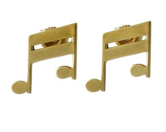 14K Gold Musical Note Pierced Post Earrings