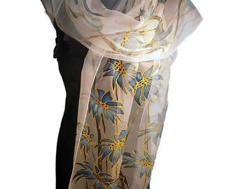 BLUE MOOD  Hand Painted Silk Scarf / Silk 100%, Chiffon type / Persian blue, grey and gold / Hand-hemmed