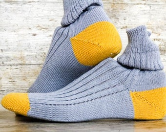 Mod Grey YELLOW Colour Block Dress Socks - Men's Handmade Winter Wool Thermal Socks - Mid Calf Casual Unisex Socks w accent Toes and Heels