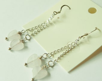 Rose quartz hearts with sterling silver chain and shepherds hook earrings