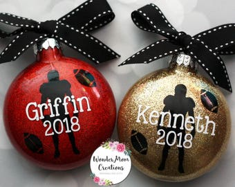 Football Player Personalized Ornament; Football Coach Ornament; Personalized Football Christmas Ornament; High School Football Gift