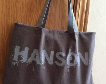 Upcycled T-shirt Handbag: Hanson Shirt