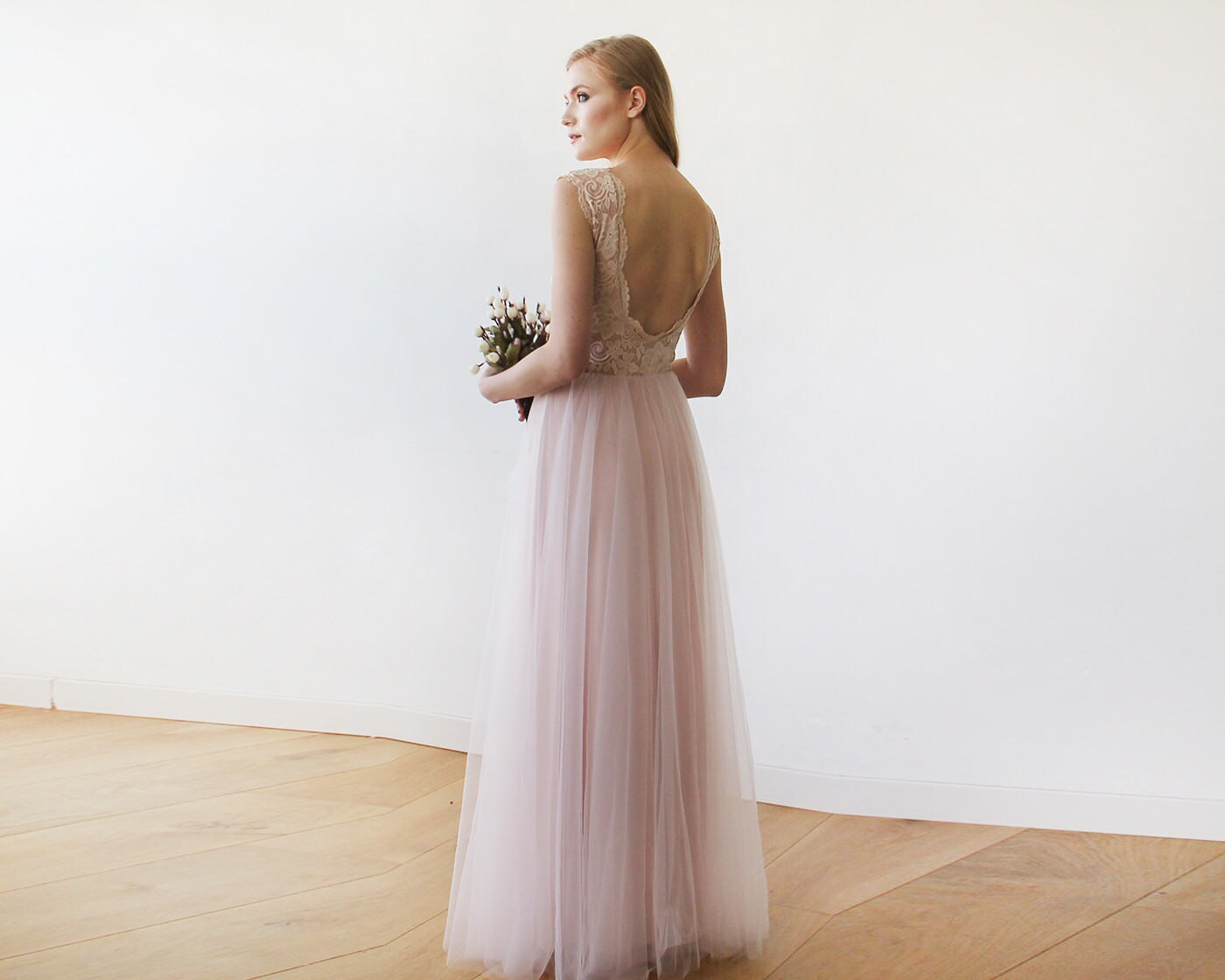 Pink blush bridesmaid dress with tulle and lace sleeveless zoom ombrellifo Gallery