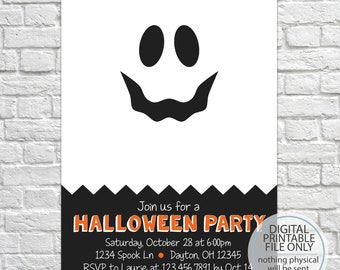 Printable Halloween Invitation, Halloween Party Invitation, Costume Party Invitation, Ghost Invitation, Halloween Costume, Kid's Party