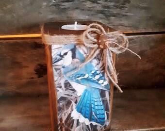 Rustic Anick wood candlestick for tea light - blue Jay (bird) - Chandelier