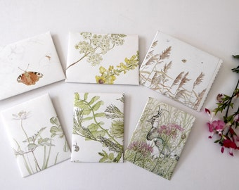 6 handmade nature envelopes for journals made from vintage paper, junk journal supplies