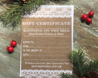 GIFT CERTIFICATE - Paper Gift Certificate - Knitting Gift Certificate - Rustic Gift Certificates - Gift Card - Rustic Invitation - Yarn Gift