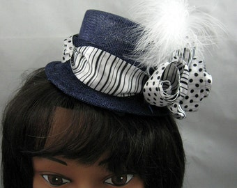 Dots and Stripes Miniature Top Hat Fascinator