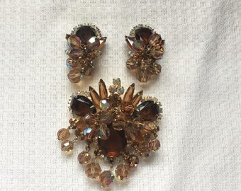 D&E Juliana Brown, Colorado Topaz and Clear AB Crystal Bead and Rhinestone Dangle Brooch/Pendant and Earring Set 1495