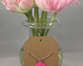 Chrysanthemum Necklace Hot Pink