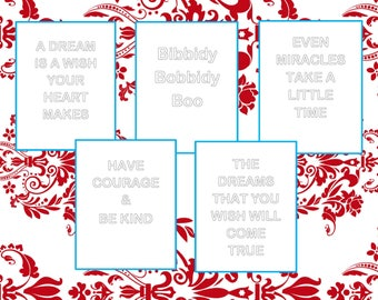 Cinderella Quotes, Coloring Pages, Printables, Digital Downloads, PDF & JPG Format