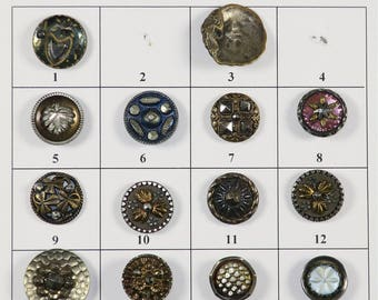 "Fancy Antique Metal Buttons - 1/2"" to 3/4"" in size - Board 6"