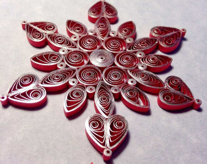 Shimmering Silver on Red Quilled Snowflake Ornament