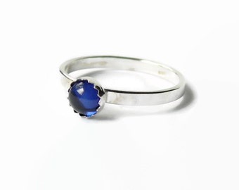 Sterling silver sapphire ring saphire jewelry blue sapphire gemstone stack ring