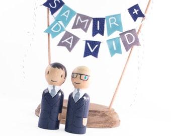 Custom Wedding Cake Topper - Name cake topper - Hand painted name cake topper - gay cake topper - lesbian cake topper - gay wedding gifts